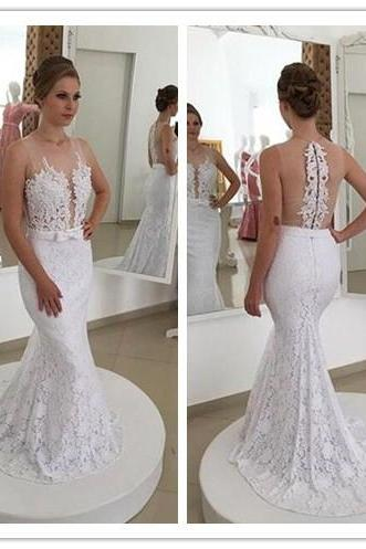 Wedding Dress,Wedding Dresses,Lace Mermaid Wedding Dress,V Neck Empire Waist White Wedding Dresses,Lace backless Wedding Dresses,Custom Made Wedding Dress