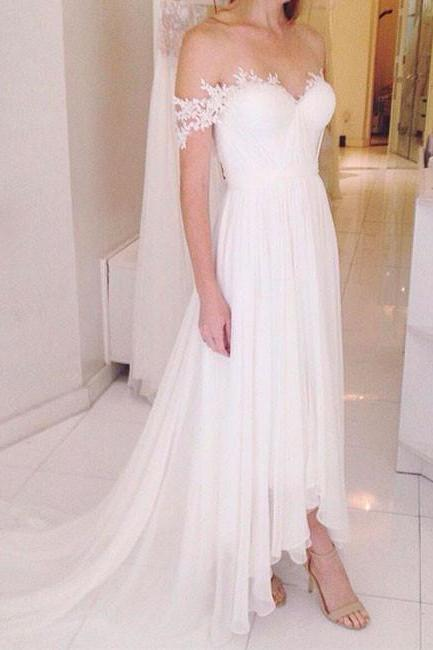 Off-the-Shoulder Lace Chiffon High-Low Wedding Dress, Beach Wedding Dress