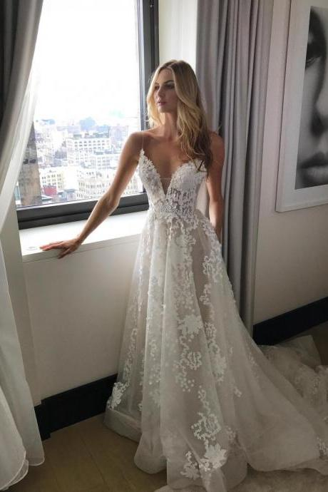 Wedding Dress,Wedding Dresses,Lace Wedding Dress,Sexy Spaghetti Straps Bridal Dress, See Through Wedding Dress