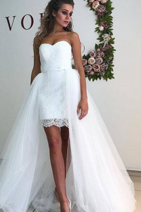 Wedding Dress,Wedding Dresses,Charming Wedding Dress,Lace Wedding Dresses,Detachable Train Wedding Dresses