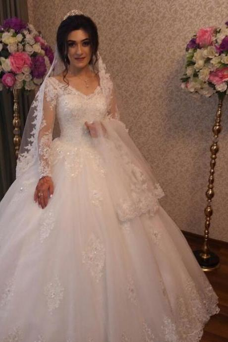 Wedding Dress,Wedding Dresses,Long Sleeve Wedding Dresses,Appliques Lace Wedding Dresses,Sheer Neck Wedding Dresses