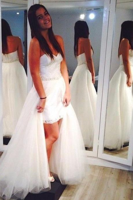 Strapless Sweetheart Lace Appliqués Short Wedding Dress with a Detachable Long Train