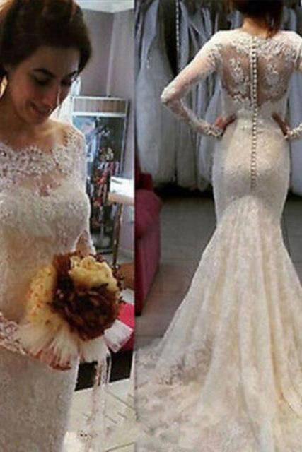 Custom Made White Long Sleeve Lace Floor Length Mermaid Wedding Dress with Button Back detailing
