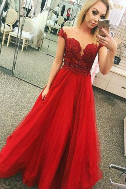 Stylish Red Applique Tulle Prom Dress,Short Sleeve Beaded Formal Gowns