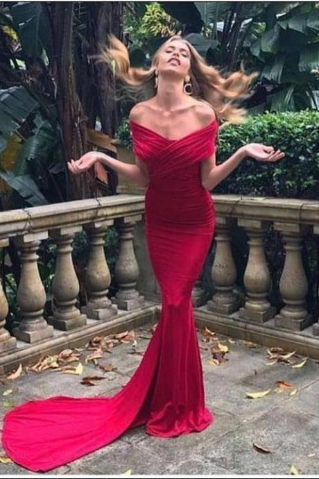 Off Shoulder Red Mermaid Formal Dresses