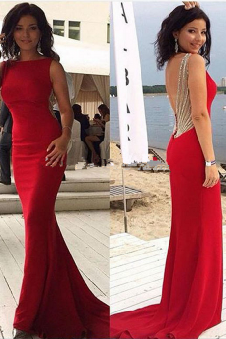 Red Prom Dresses,Evening Dress,Prom Dress,Prom Dresses,Charming Prom Gown,Backless Beading Prom Dress,Evening Gowns for Teens