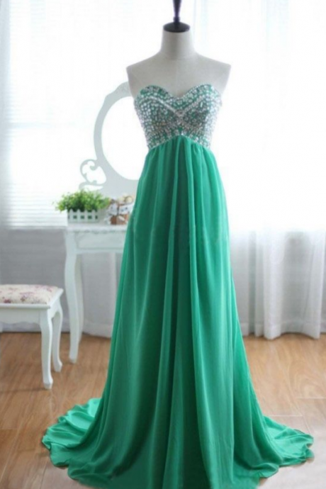 Sweetheart Green Long Prom Dresses with Beadings, Green Prom Dresses, Long Prom Dress, Formal Dress,Custom Made A line Backless chiffon Prom Dresses