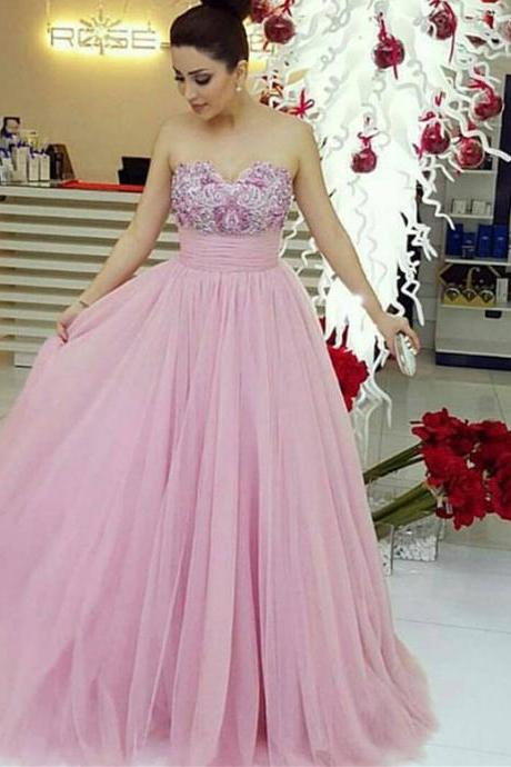 Lace Prom Dresses, Prom Dresses,Prom Dress,Pink Evening Gown Ball Gown Tulle Prom Dress