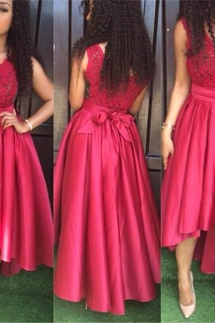 Short Front Long Back V-Neck Prom Dresses,Long Prom Dress,Cheap Prom Dresses, Evening Dress Prom Gowns, Formal Women Dress