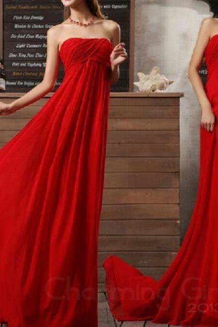 Gorgeous Red A-line Floor-Length Simple Style Formal Dresses, Red Bridesmaid Dresses, Long Prom Gowns