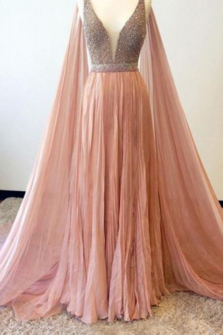 Stunning Prom Dress blush pink prom gowns long evening gowns for teens