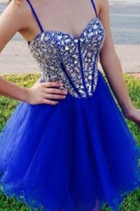 Sweetheart Neck Beaded Spaghetti Strap Royal Blue Tulle Homecoming Dresses