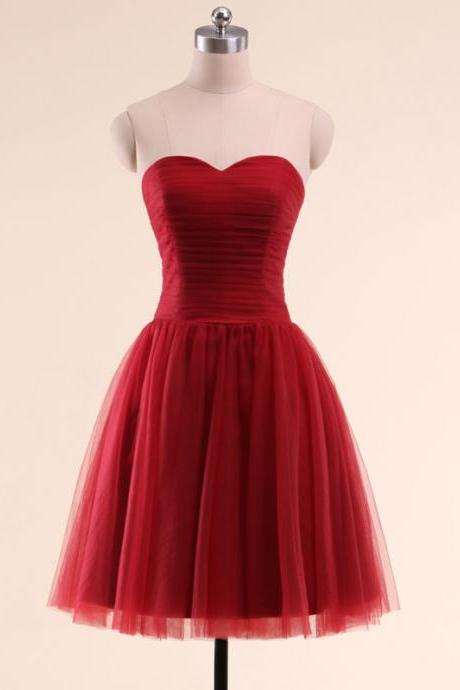Red Ruched Sweetheart Knee Length Tulle Evening Dress, Homecoming Dress, Bridesmaid Dress