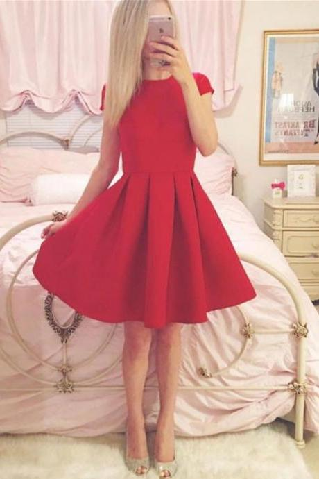 Cute A Line Red Short Sleeve Homecoming Dress,Round Neck Party Dress,Short Prom Dresses