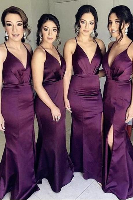 V Neck Prom Dress Bridesmaid Dress Wedding Guest Dress with Slit
