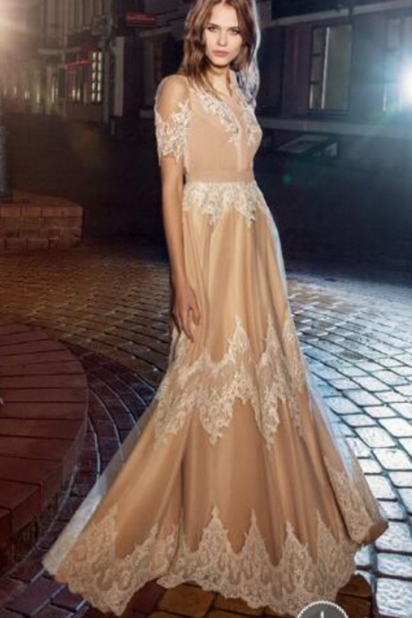 Off the Shoulder Prom Dress, Champagne Prom Dress, Lace Applique Prom Dress
