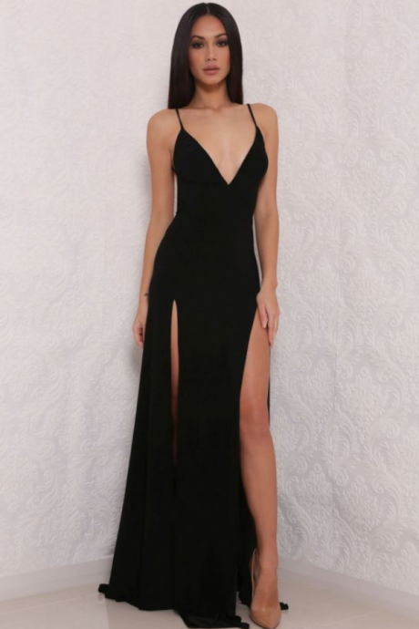 hot sexy spaghetti straps prom dress
