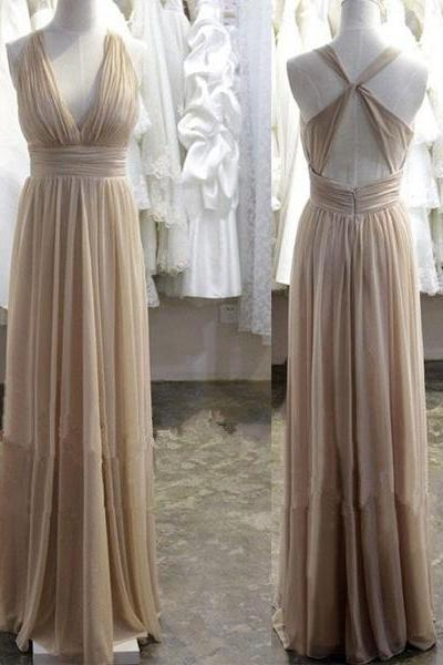 V-neck Long Chiffon Pleat Prom Dresses Sexy Backless Party Dresses,V Neck Long Chiffon Evening Dress,Sexy Nude Chiffon Prom Party Dress