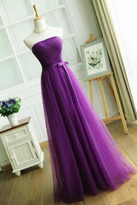 Elegant Purple Long Prom Party Dresses,A Line Strapless Pleat Evening Dress