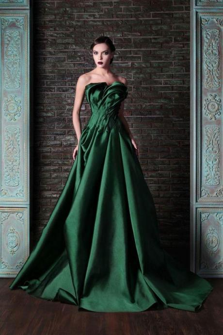 Beautiful Green Color Fashionable Prom Dresses ,Ruffles Ruched Full Satin Bridal Gowns ,Custom Made Evening Dress