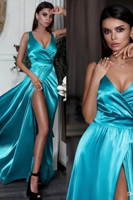 2019 Deep V Neck Satin Long Prom Dresses High Split Floor Length Vestidos de Festa Party Evening Gowns