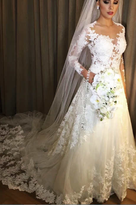 Sheer Lace Appliques Bridal Dresses with Long Sleeves