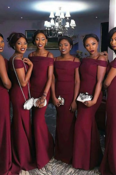 Burgundy Mermaid Prom Dresses Off-the-Shoulder Long Sexy Bridesmaids Dress