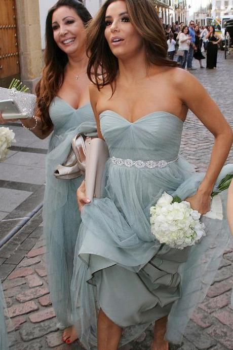 Strapless A-line Long Bridesmaid Dress with Beads Sash
