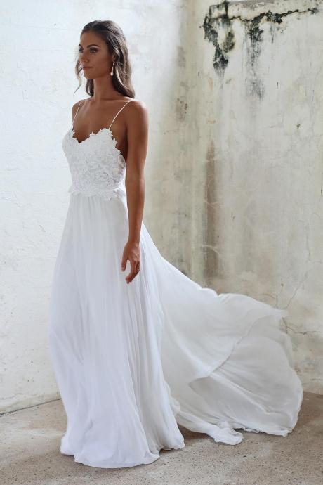 Spaghetti Strap V-Neck Lace Appliqués Chiffon A-line Wedding Dress Featuring Open Back