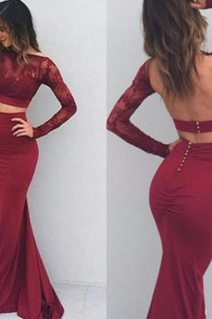 Long Sleeve Burgundy Red Lace Jersey Prom Dress Pageant Dresses