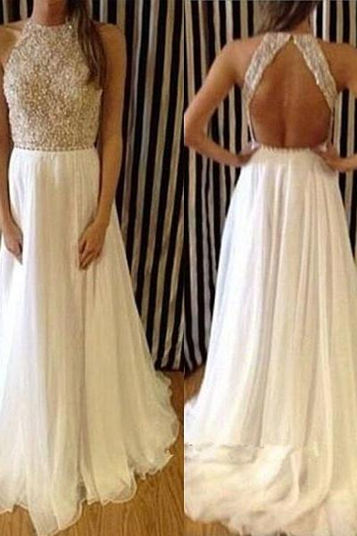 Pretty White Silk Chiffon Long Backless Prom Gowns with Applique and Beadings