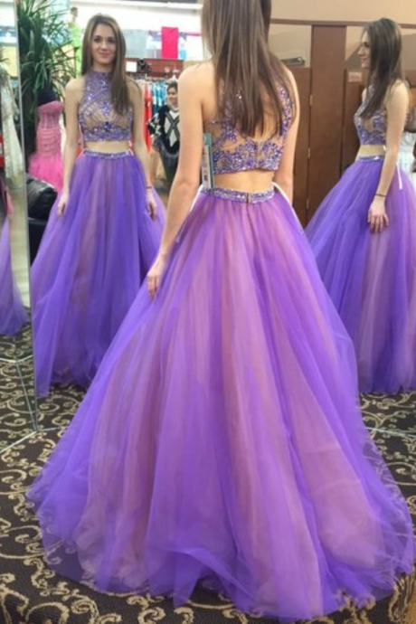 Beads Two Piece High Neck Long Light Purple Prom Dress with Open Back