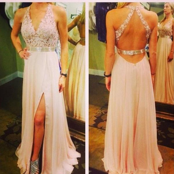 Light Pink Prom Dresses,Chiffon Backless Prom Dress,A Line Prom Dress