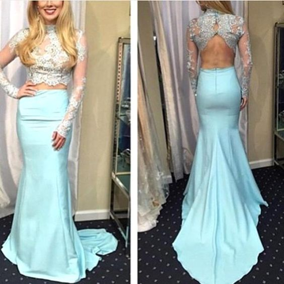 High Neck Prom Dress,Mermaid Prom Dresses,Long Evening Dress