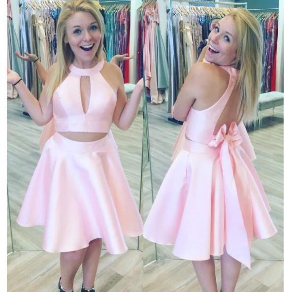 Princess Short Pink Homecoming Dress with Key Hole, Two Piece Mini Short Prom Dress, A Line Jewel Sleeveless Homecoming Gown