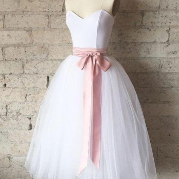 White Sweetheart Tulle Tea Length Homecoming Dress with Pink Belt, Simple Tea Length Prom Dress, Bridesmaid Dresses