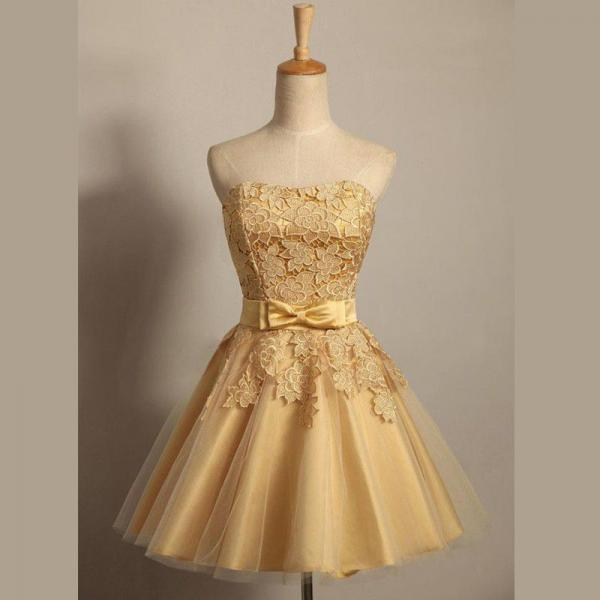 Homecoming Dresses Golden Sleeveless Matte Satin Zippers Bows Mini Strapless A-Line/Column