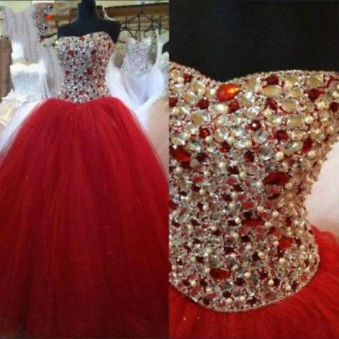 Sleeveless Red Quinceanera Dress with Crystals