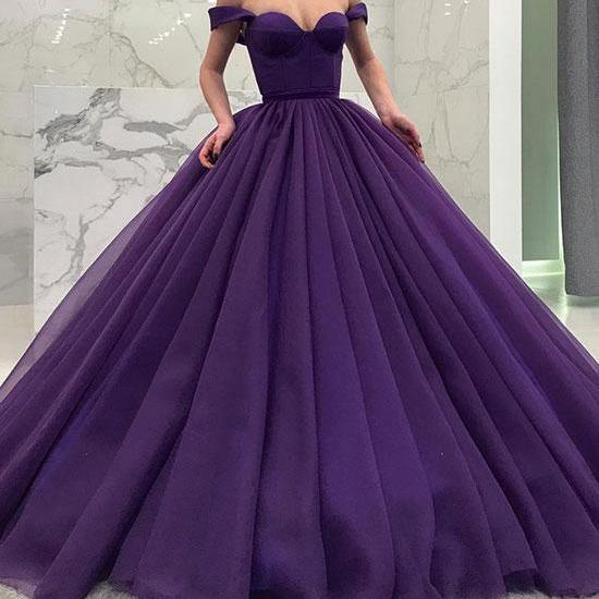 Off the Shoulder Purple Ball Gown Quinceanera Dress